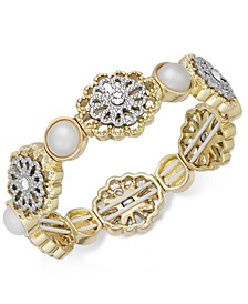 Two-Tone Crystal Filigree & Imitation Pearl Stretch Bracelet, Created for Macy's