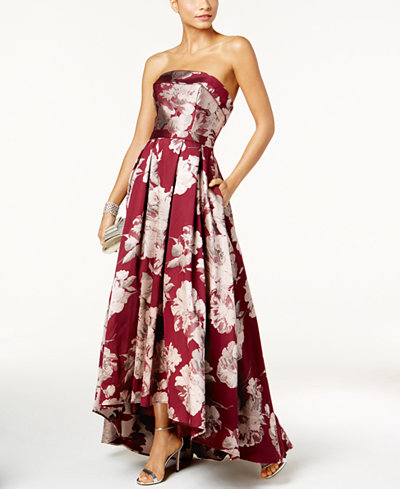 Xscape Floral-Print Brocade Strapless Gown