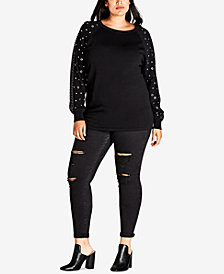 City Chic Trendy Plus Size Studded-Sleeve Sweater