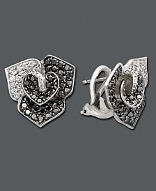 EFFY Diamond Black Diamond and White Diamond Flower Stud (1-7/8 ct. t.w.) in 14k White Gold