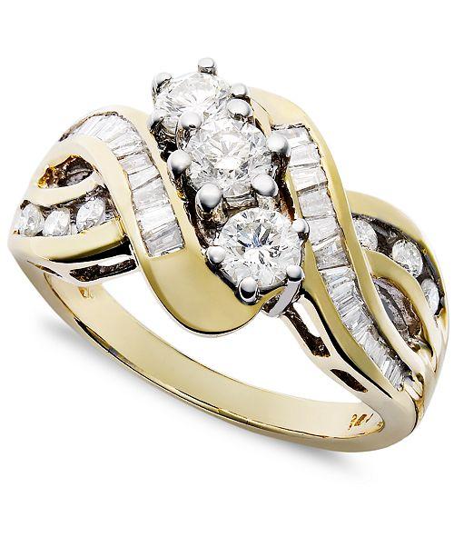 Macy's Three-Stone Diamond Braid Ring in 14k Yellow or White Gold (1 ct. t.w.)