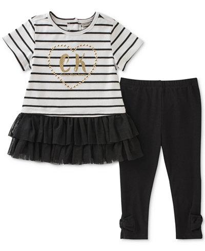 Calvin Klein 2-Pc. Striped Tunic & Bow Leggings Set, Baby Girls