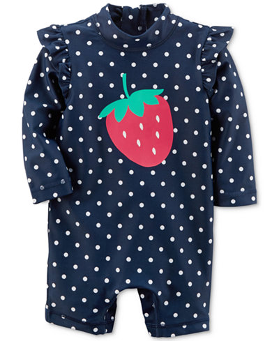 Carter's 1-Pc. Strawberry Rash Guard Swimsuit, Baby Girls