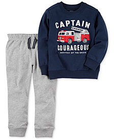 Carter's 2-Pc. Cotton Firetruck Sweatshirt & Jogger Pants Set, Baby Boys