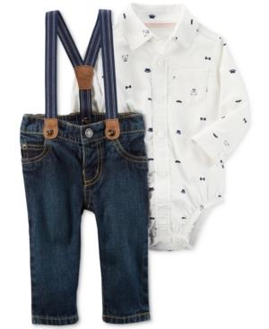 Carters 3Pc Shirt Bodysuit Jeans  Suspenders Set Baby Boys (024 months)