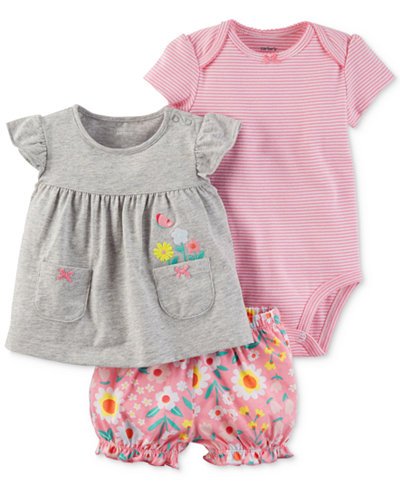 Carter's 3-Pc. Cotton Embroidered Top, Striped Bodysuit & Diaper Cover Set, Baby Girls