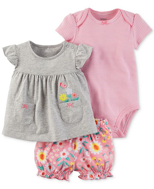 3-Pc. Cotton Embroidered Top, Striped Bodysuit & Diaper Cover Set, Baby Girls