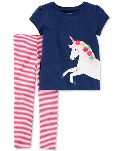 Carter's 2-Pc. Unicorn T-Shirt & Striped Leggings Set, Baby Girls