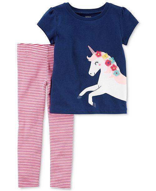 1e96fe257 Carter's 2-Pc. Unicorn T-Shirt & Striped Leggings Set, Baby Girls ...