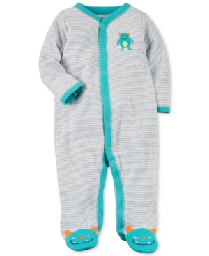 Carters Striped Monster Cotton Footed Coverall Baby Boys (024 months)