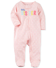 Carter's Baby Girls Heart-Print Little Sister Cotton Footed Coverall