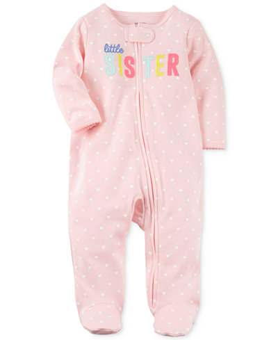 Carter's Heart-Print Little Sister Cotton Footed Coverall, Baby Girls