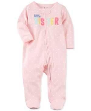 Carter's Heart-Print Little Sister Cotton Footed Coverall, Baby Girls thumbnail