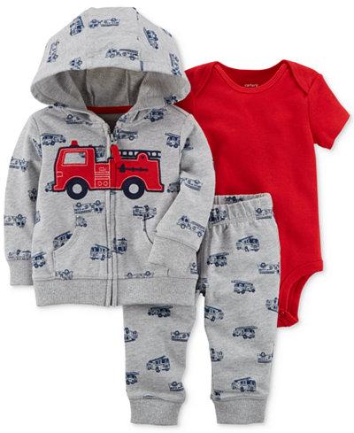 Carter's 3-Pc. Firetruck-Print Hoodie, Bodysuit & Pants Set, Baby Boys