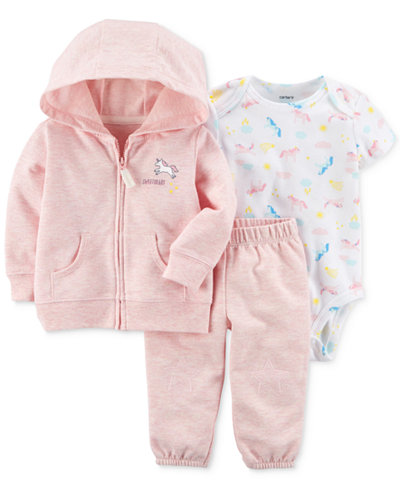 Carter's 3-Pc. Hoodie, Unicorn-Print Bodysuit & Pants Set, Baby Girls