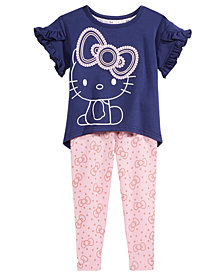 Hello Kitty 2-Pc. Flounce-Sleeve Top & Printed Leggings Set, Baby Girls