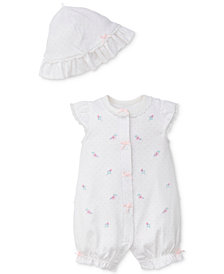 Little Me 2-Pc. Embroidered Cotton Romper & Dot-Print Hat Set, Baby Girls