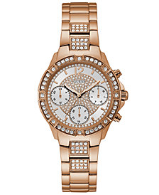 GUESS Women's Rose Gold-Tone Stainless Steel Bracelet Watch 36mm