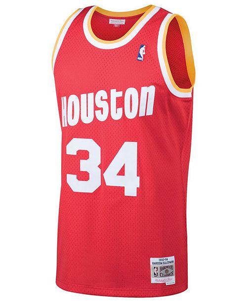 low priced c29f3 89cec Men's Hakeem Olajuwon Houston Rockets Hardwood Classic Swingman Jersey