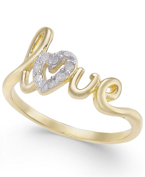 Macy's Diamond Love Ring (1/10 ct. t.w.) in 14k Gold-Plated Sterling Silver