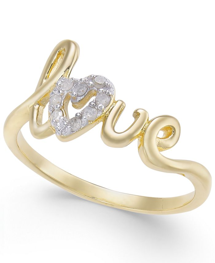 Macy's - Diamond Love Ring (1/10 ct. t.w.) in 14k Gold-Plated Sterling Silver