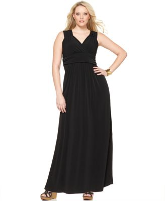 NY Collection Plus Size Ruched Empire Maxi Dress - Dresses - Plus ...