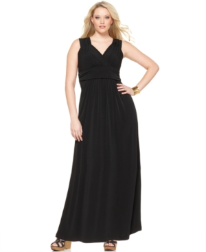 NY Collection Plus Size Dress, Sleeveless Ruched Empire Maxi