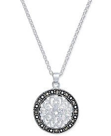 Marcasite & Crystal Flower Disc Pendant Necklace in Fine Silver-Plate