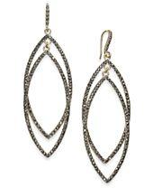 I.N.C. Gold-Tone Dark Pavé Double Drop Earrings, Created for Macy's