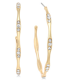"I.N.C. Large 2"" Gold-Tone Crystal-Accent Hoop Earrings, Created for Macy's"