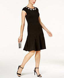 JAX Embellished-Neck Fit & Flare Dress