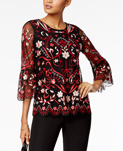 Alfani Petite Embroidered Mesh Bell-Sleeve Top, Created for Macy's