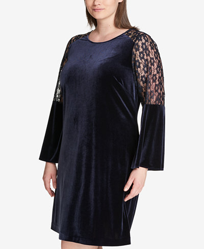 Tommy Hilfiger Plus Size Lace-Sleeve Velvet Shift Dress, Created for Macy's