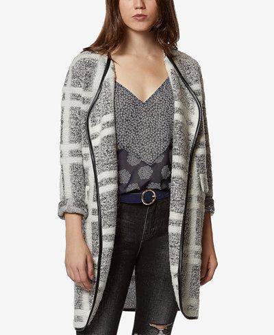 Avec Les Filles Plaid Bouclé Knit Car Coat