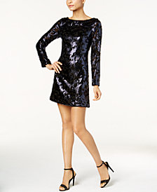 Vince Camuto Long-Sleeve Sequined Dress