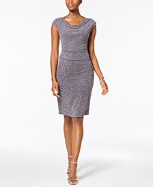 Jessica Howard Draped & Ruched Glitter Dress