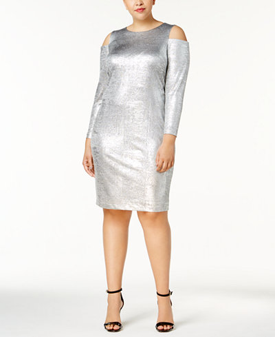 Calvin Klein Plus Size Cold-Shoulder Metallic Dress, Created for Macy's