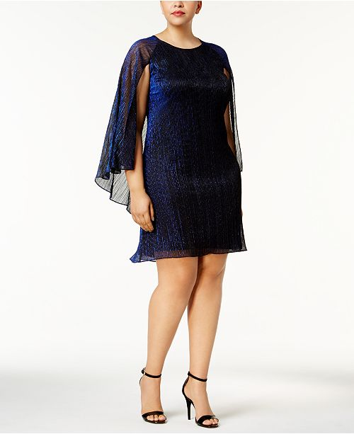 Calvin Klein Plus Size Metallic Cape Dress