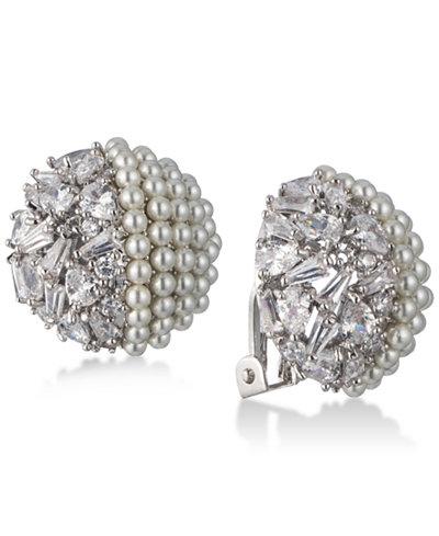 Carolee Silver-Tone Crystal & Imitation Pearl Clip-On Stud Earrings