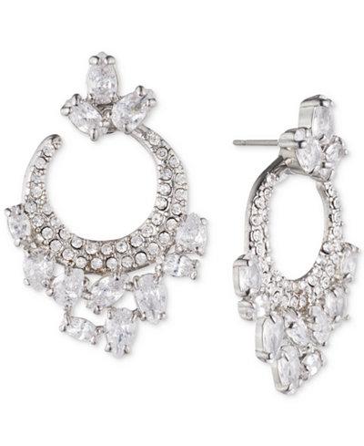 Carolee Silver-Tone Cubic Zirconia Small Hoop Earrings