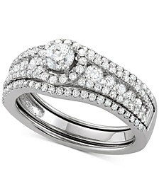 Diamond Halo Enhancer Bridal Set (1-1/3 ct. t.w.) in 14k White Gold
