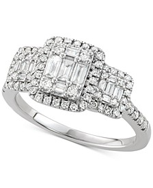 Diamond Square Cluster Engagement Ring (3/4 ct. t.w) in 14k White Gold