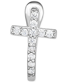 Diamond Accent Cross Single Hoop Earring in 14k White Gold