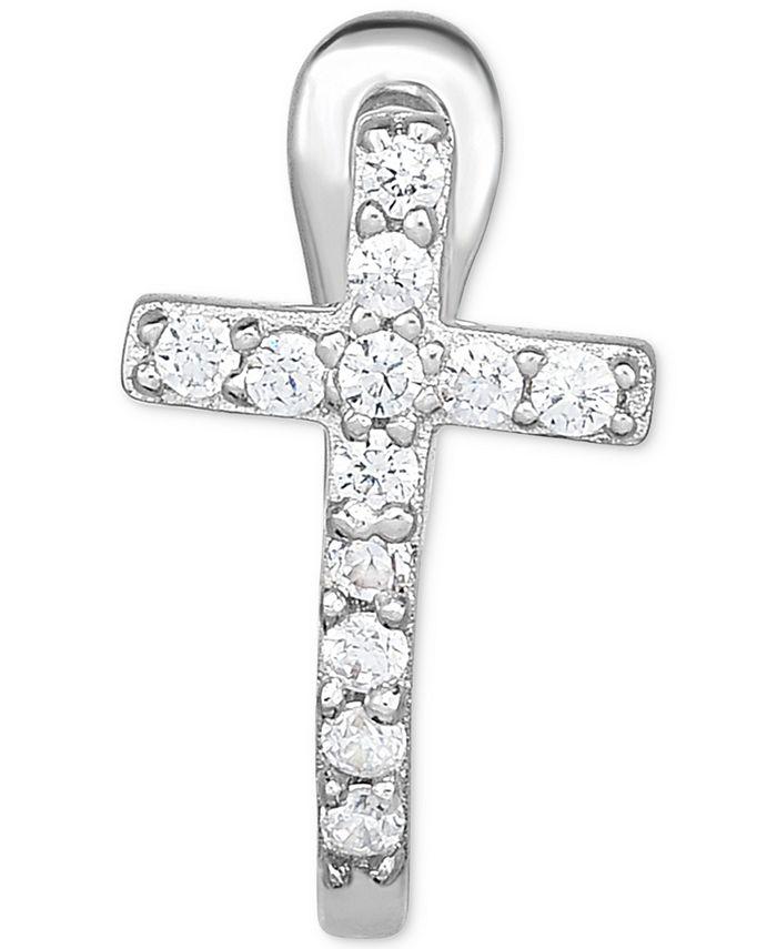 Macy's - Diamond Accent Cross Single Hoop Earring in 14k White Gold