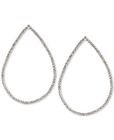 Touch of Silver Crystal Teardrop Drop Earrings in Silver-Plate