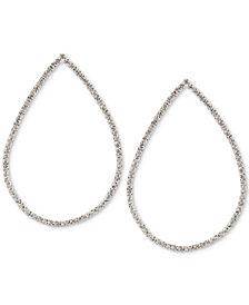 Touch of Silver Crystal Teardrop Drop Earrings in Silver-Plate