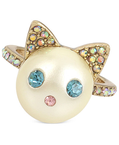 Betsey Johnson Gold-Tone Colored Pavé & Imitation Pearl Cat Ring