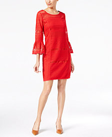 Alfani Petite Crochet Bell-Sleeve Shift Dress, Created for Macy's