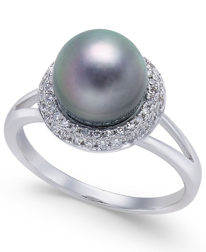 Macy's - Cultured Tahitian Pearl (8mm) & Diamond (1/5 ct. t.w.) Halo Ring in 14k White Gold