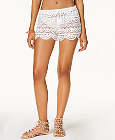 Miken Juniors'  Crochet Scalloped Cover-Up Shorts, Created for Macy's